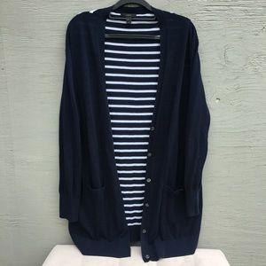 Jcrew striped long cardigan